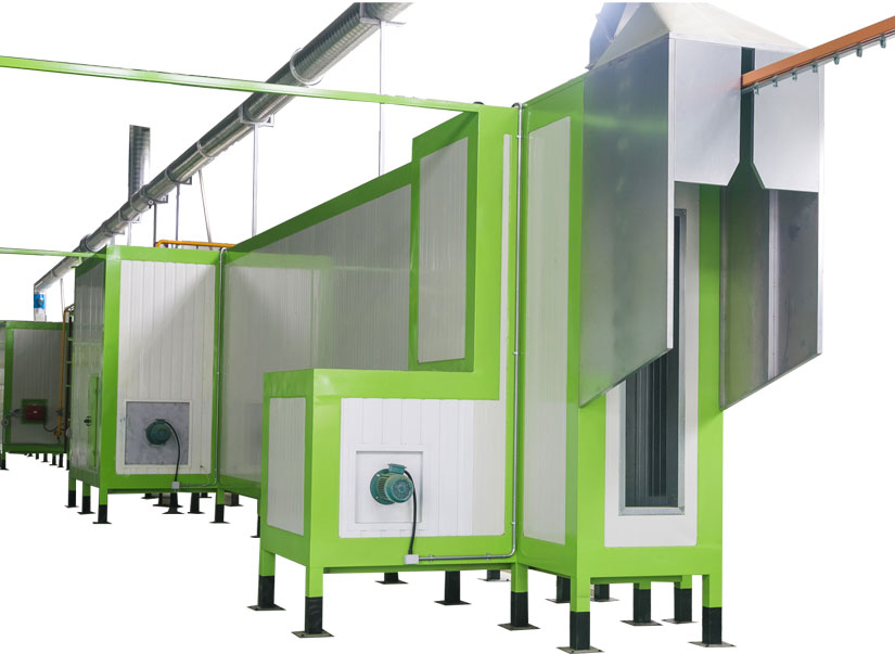 Tunnel type powder curing oven for powder coating production line